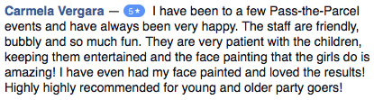 5 star Reviews for Pass the Parcel on Facebook