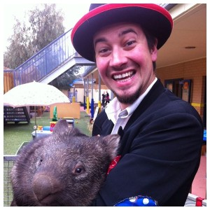 Patch the clown with a wombat
